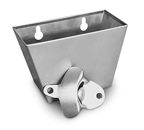 Wall Mount Bottle Opener and Stainless Steeel Bottle Cap Catcher set with Screws (opener and Bottle Cap Catcher , silver)