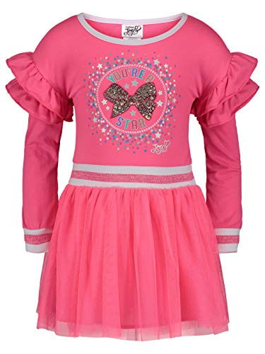 Jojo Siwa (893321WAM) Girls French Terry Dress with Mesh and Tule Skirt in Pink, 7/8