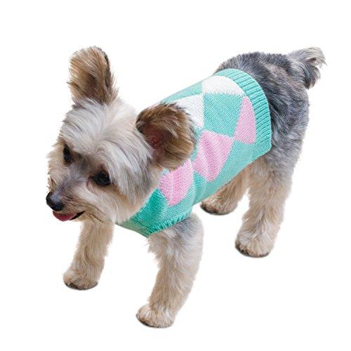 Stinky G Aqua Green Argyle Patterned Sleeveless Dog Pet Sweater Medium #12