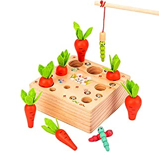 VR CHAMPS Montessori Toys for Toddlers, Wooden Carrots Harvest Shape Size Sorting and Learning Magnetic Fishing Insect Games, Preschool Educational Montessori Toys for Toddlers Kids Boys Girls