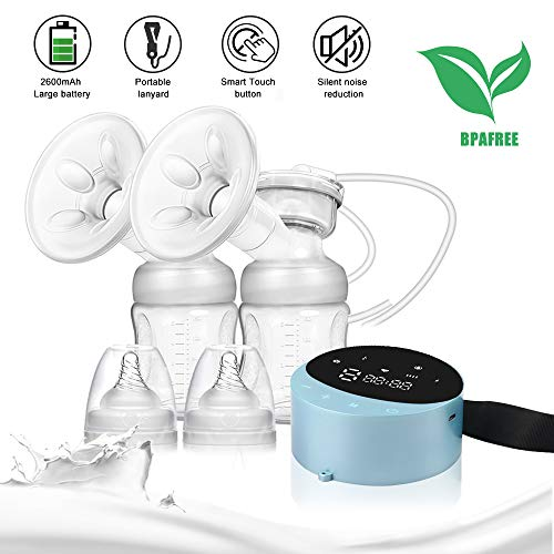 Double Electric Breast Pump Portable, Hands Free Breastpump Pain Free Message Nursing Breastfeeding Pump, 4 Modes 10 Suction Levels Rechargeable LED Display Milk Pump Extractor for Mom's Comfort