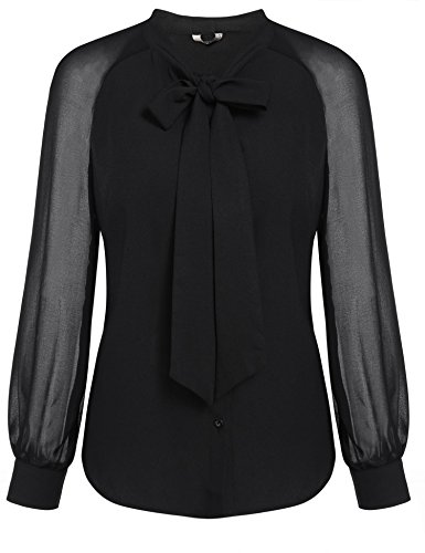 Dickin Women's Vintage Bow-Tie Patchwork Long Sleeve Button Front Casual Shirt
