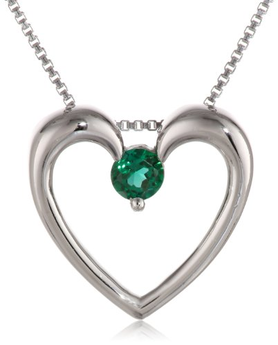 Sterling Silver Round Created Emerald Heart Pendant Necklace, 18