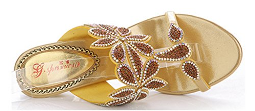 CRC Womens Unique Floral Sparkle Rhinestone Microfiber Prom Wedding Party Sandals Slippers Gold rbiq4W6KnA