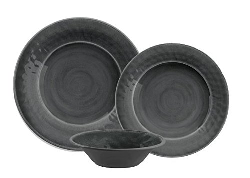 TarHong 12 Piece Glazed Crackle Melamine Dinnerware Set, Gra