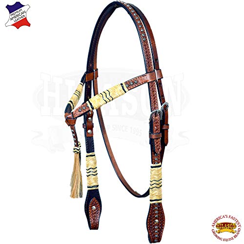 HILASON Western American Leather Horse Headstall Rawhide Braided Brown