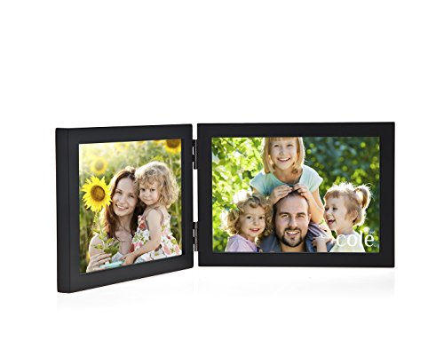 Philip Whitney Black Wooden Hinged Double 4x6 Horizontal Picture Frame