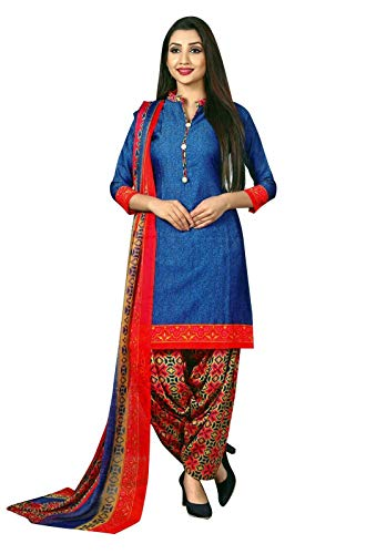 (Ladyline Ready to wear French Crepe Printed Salwar Kameez Suit Indian Pakistani Dress (Size_42/ Blue))