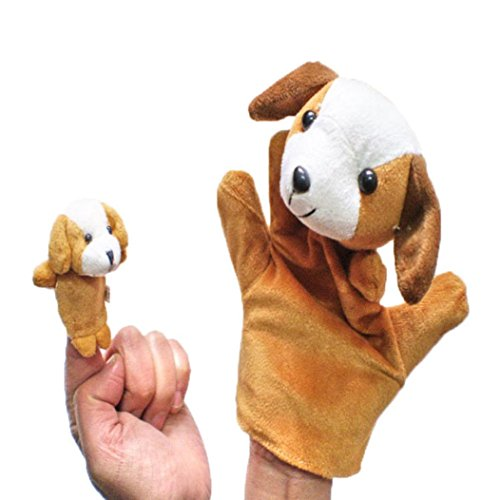 Gotd Finger Puppets Story Time Finger Puppets Educational Puppets Hand Puppets Gift Set/ 2Pcs Finger Even, Storytelling, Good Toys, Hand Puppet for Baby's Gift (Dog)