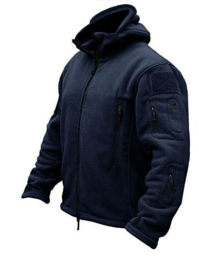 CRYSULLY Men's Fall Winter Coat Safari Jacket Fleece Hiking Travelling Fatigue Outdoors Snow Jacket Navy Blue