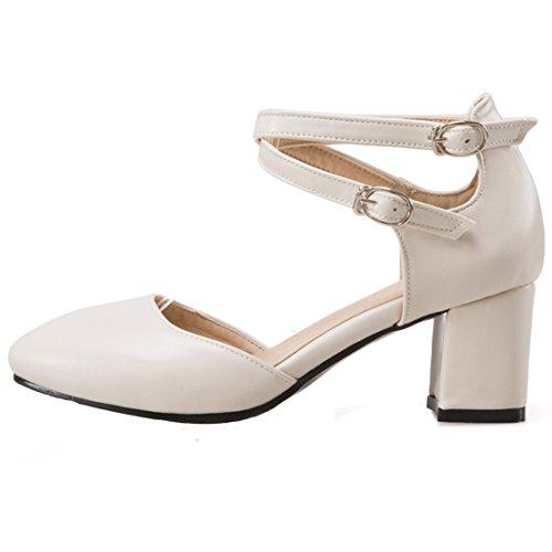 AIYOUMEI Damen knöchelriemchen Blockabsatz Pumps mit 6cm Absatz Chunky Heel  Bequem Schuhe(Die Beiden Tragen ...