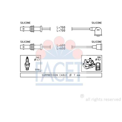 Facet 4.9835 Ignition Leads Kit: