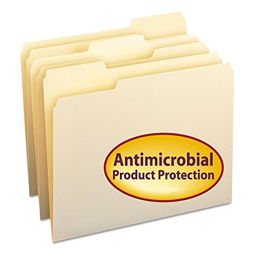 Smead 10338 Antimicrobial One-Ply File Folders, 1/3 Cut Top Tab, Letter, Manila, 100/box ()
