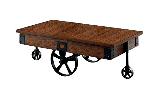Augustina Weathered Oak Finish Caster Wheel Coffee Table