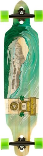 Sector 9 Green Wave Lookout II Drop-Thru Bamboo Complete Downhill Longboard Skateboard – 9.6″ x 42″