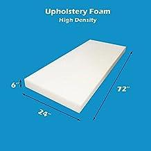 "Mybecca Upholstery Foam Cushion High Density (Seat Replacement, Sheet, Padding), 6"" H X 24"" W x 72"" L"