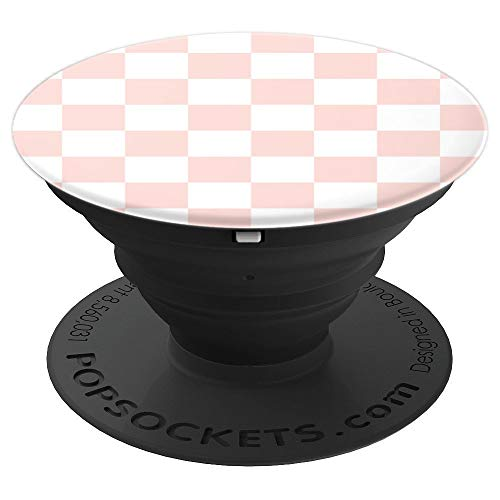 Rose-Pink Checkered: Chess Checkerboard for Women - PopSockets Grip and Stand for Phones and Tablets -