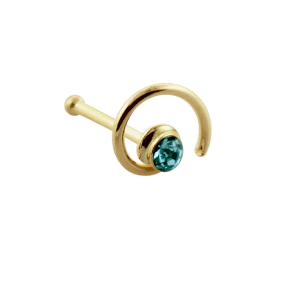 9 Karat Solid Yellow Gold Clear Crystal Stone Coil Flower 22 Gauge Ball End Nose Stud Piercing Jewelry AtoZ Piercing ATOZ-LC850-NBGK9