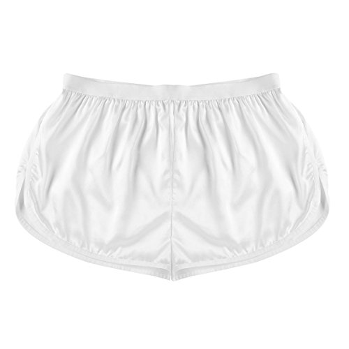 CHICTRY Men's Stain Satin Boxer Shorts with White Lines Trim Lingerie Underwear Ivory (Ivory Satin Trim)