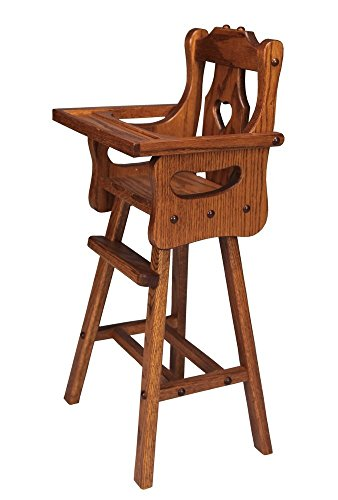 - Lancaster's Best Amish Handcrafted Wooden Doll High Chair, Made with Solid Oak Wood with Harvest Stain.