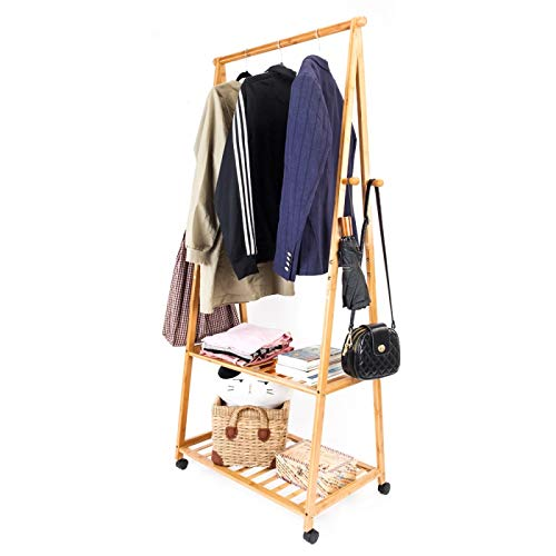 Teekland Bamboo Clothes Rack Portable Extra Large Garment Rack 2-Tire Portable Practical Storage Clothes Hanger with Wheel Wood Color