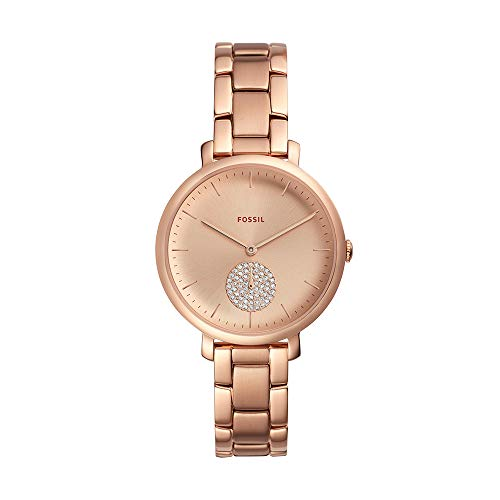 (Fossil Women's Jacqueline Quartz Stainless-Steel-Plated Strap, Rose Gold, 14 Casual Watch (Model: ES4438))