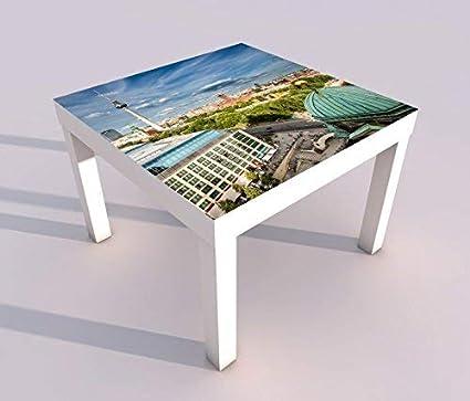 Tisch mit UV Druck 55x55cm Berlin Skyline Stadt Fernseherturm Spieltisch Lack Tische Bild Bilder Kinderzimmer M/öbel 18A2454 Design Tisch 1:55x55cm
