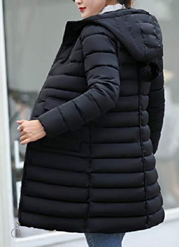 Slim Black Down Womens Zip Long Up Winter Coat Jacket Mid Hooded XINHEO Casual B0ZqS77
