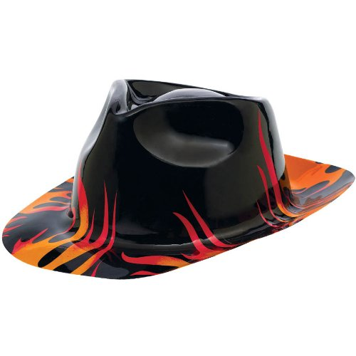 Amscan Rock-n-Roll 50's Theme Party Flames Fedora Hat (1 Piece), Black/Orange, 4.5 x 9.8