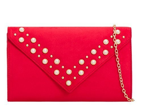 Studded Bags Pearl Evening Clutch Faux Womens Dressy Prom Suede Red Party Occasion Ladies I16 Hand Fxn1CCAqwU