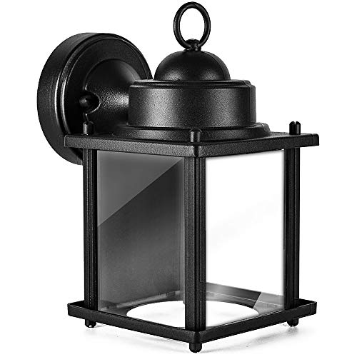Lonedruid Outdoor Wall Lantern Light, Porch Lights Fixtures with Clear Glass Shade Black Gold