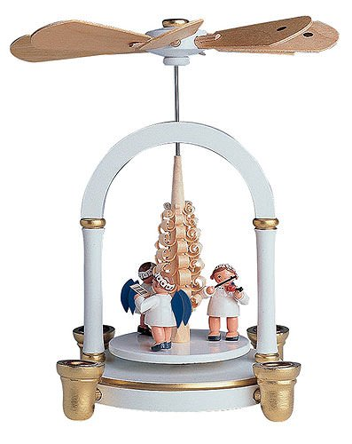 1-tier Pyramid - German Christmas Angel music white - 21 cm / 8 inch - KWO