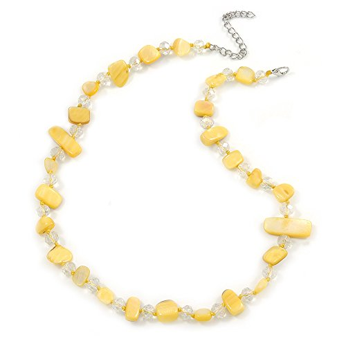 (Avalaya Delicate Butter Yellow Sea Shell Nuggets and Glass Bead Necklace - 48cm L/ 7cm Ext)