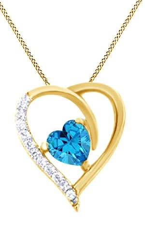 14k Gold Us Marine (March Birthstone Aquamarine Heart Pendant Necklace 14k Yellow Gold Over Sterling Silver)
