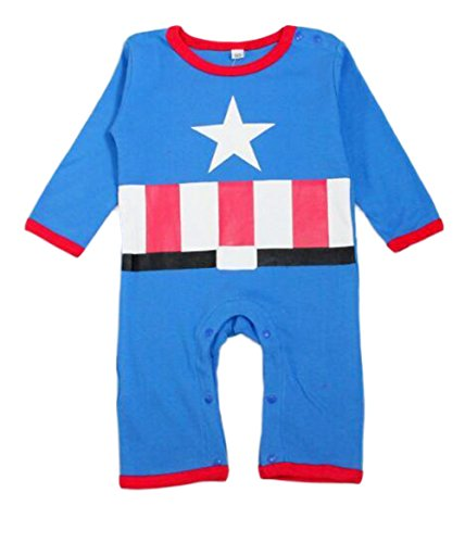 StylesILove Baby Boy Super Heroes Long Sleeve Costume Jumpsuit (18-24 Months, Captain America)