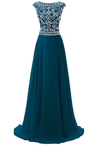 Dresstore Women's Long Chiffon Bridesmaid Dress Cap Sleeves Beaded Prom Eveing Gown Teal US 10