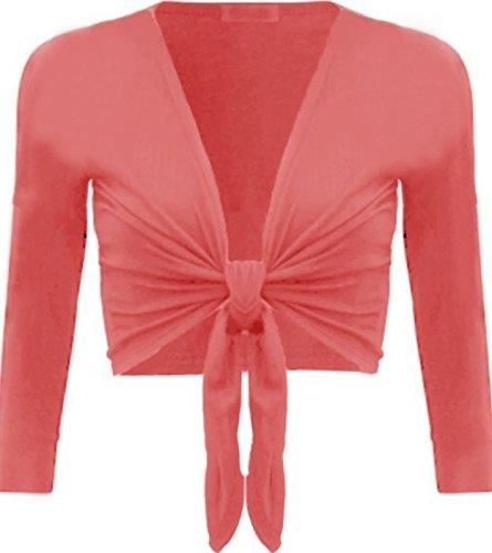 New Womens Plain Bolero Front Tie Shrug Ladies Cropped Long Sleeve Cardigan Top Tie Front Bolero