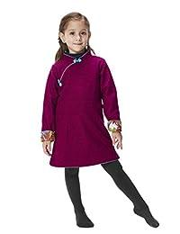 Handmade Girls Wool Dress Overcoat Chinese Cheongsam Qipao Kids Clothing #210