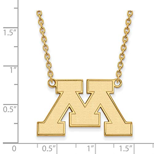Jewelry Stores Network Minnesota Golden Gophers School Letter Logo Pendant Necklace Gold Plated Silver L - (18 mm x 30 mm) ()
