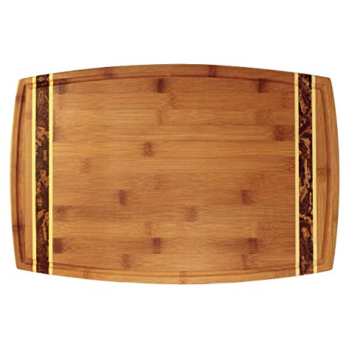 "Totally Bamboo Marbled Bamboo Cutting & Serving Board, 100% Natural Bamboo Wood, 2-Tone Crushed Bamboo Inlay, 18"" x 11.8"" x .8"""