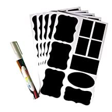 Smart 50 Premium Chalk Chalkboard Blackboard Message Label Sticker Set for Jars, Tins, Boxes +1 Big White Liquid Chalk Glass Marker