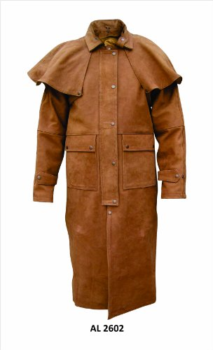 (Brown Leather Coat Duster with Zipout Liner and Leg-Straps, Removable Cape - L -)