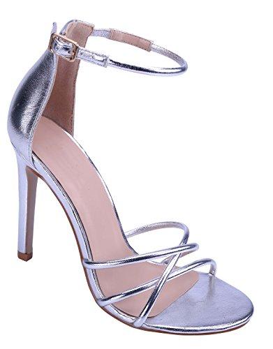 Cambridge Select Womens Open Toe Crisscross Buckle Ankle Strappy Stiletto High Heel Sandal Silver tGJlL8n7BM