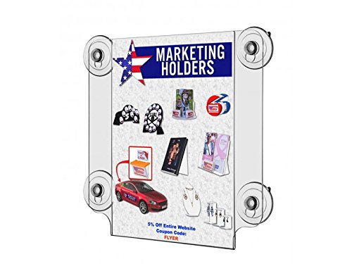 Marketing Holders LOT OF 2 Suction Cup Sign Holder for 8 1/2'' wide x 11'' high Sign