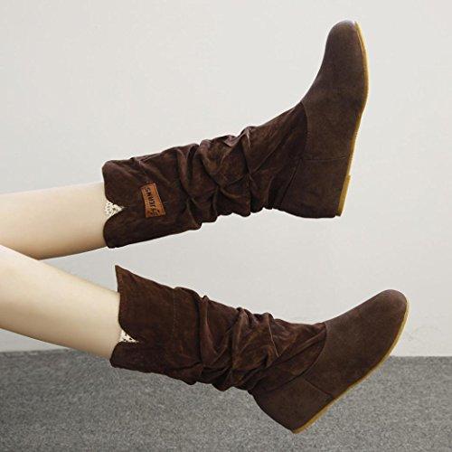 Alta de 3cm Sky Encaje Botas de Heel de Rodilla Invierno La High Cara Terciopelo Zapatos Botas café Zapatos de EN Otoño Mujer Botas Botas Tacón Planas wqqBpRIrx