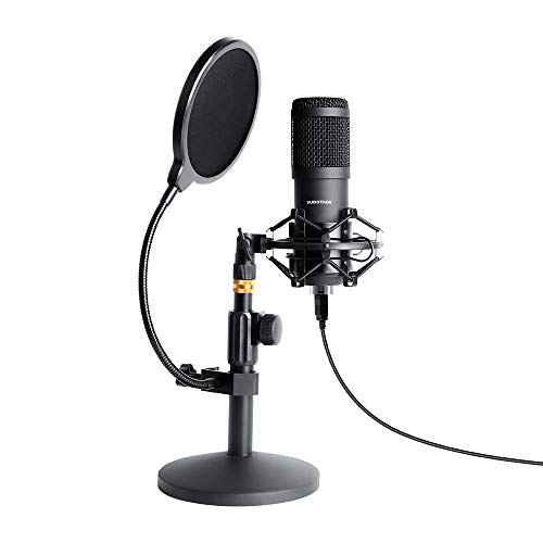 - USB Streaming Podcast PC Microphone, SUDOTACK Professional 96KHZ/24Bit Studio Cardioid Condenser Mic Kit with Sound Card Desktop Stand Shock Mount Pop Filter, for Skype Youtuber Gaming Recording