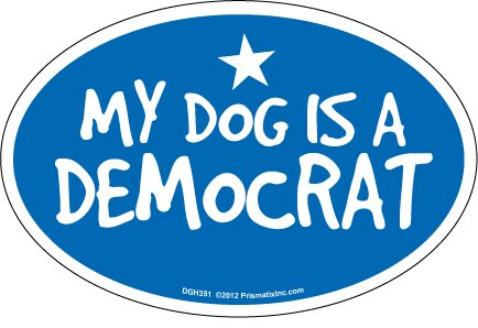 Prismatix Decal Cat and Dog Magnets, My Dog is Democrat