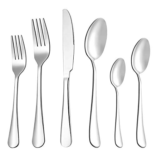 Flatware Silverware Set, 24 Piece Cutlery Tableware Set, SHUNBIN Stainless Steel Utensils Service for 4, Knife Fork and Spoon,for Kitchen Hotel Party,Dishwasher Safe,Mirror Polished