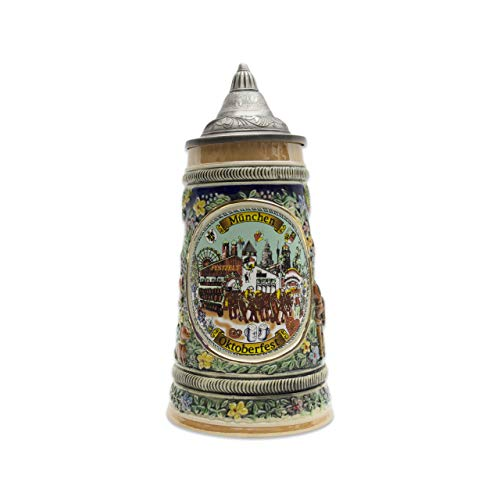 Tall Lidded Stein - Beer Stein Oktoberfest Lidded Beer Mug by E.H.G. | .90 Liter