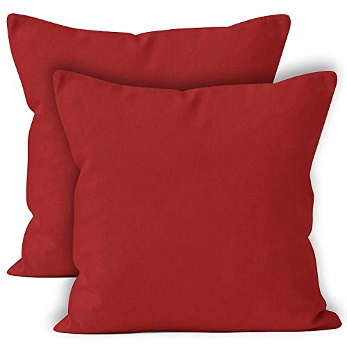 (Encasa Homes Throw Cushion Cover 2pc Set - Deep Red - 24 x 24 inch Solid Dyed Cotton Canvas Square Accent Decorative Pillow Case for Couch Sofa Chair Bed & Home)